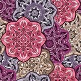 Εκλεκτής ποιότητας ζωηρόχρωμο άνευ ραφής ασιατικό σχέδιο mandala Στοκ Εικόνα