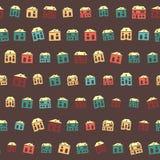 Εκλεκτής ποιότητας ζωηρόχρωμο καφετί θερινό σχέδιο σπιτιών διανυσματική απεικόνιση