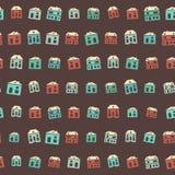Εκλεκτής ποιότητας ζωηρόχρωμο καφετί χειμερινό σχέδιο σπιτιών απεικόνιση αποθεμάτων