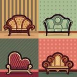 Εκλεκτής ποιότητας διάνυσμα καναπέδων με το υπόβαθρο Στοκ Εικόνες