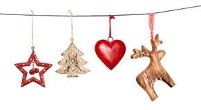 Εκλεκτής ποιότητας διακοσμήσεις Χριστουγέννων που κρεμούν στη σειρά που απομονώνεται Στοκ εικόνες με δικαίωμα ελεύθερης χρήσης