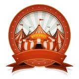 Εκλεκτής ποιότητας διακριτικό και κορδέλλα τσίρκων με τη μεγάλη κορυφή Στοκ εικόνα με δικαίωμα ελεύθερης χρήσης