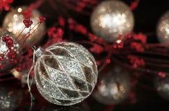 Εκλεκτής ποιότητας διακόσμηση Χριστουγέννων υδραργύρου ασημένια στοκ εικόνες