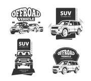 Εκλεκτής ποιότητας διανυσματικά διακριτικά αυτοκινήτων suv, ετικέτες, λογότυπα Στοκ Φωτογραφία