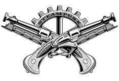 Εκλεκτής ποιότητας διανυσματική απεικόνιση πυροβόλων όπλων Steampunk Στοκ Εικόνες