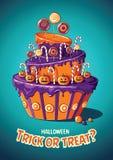 Εκλεκτής ποιότητας διανυσματική αφίσα αποκριών μεταχειριστείτε το τέχνασμα Κέικ και γλυκά απεικόνιση αποθεμάτων