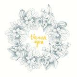 Εκλεκτής ποιότητας διανυσματική κάρτα με το λεπτομερές πλαίσιο των τριαντάφυλλων κήπων σε ένα άσπρο υπόβαθρο ύφος βικτοριανό Στοκ Φωτογραφίες