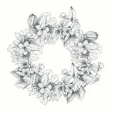 Εκλεκτής ποιότητας διανυσματική κάρτα με το λεπτομερές πλαίσιο των τριαντάφυλλων κήπων σε ένα άσπρο υπόβαθρο ύφος βικτοριανό Στοκ Εικόνα