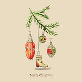 Εκλεκτής ποιότητας διανυσματική κάρτα Χριστουγέννων Στοκ εικόνα με δικαίωμα ελεύθερης χρήσης