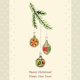 Εκλεκτής ποιότητας διανυσματική κάρτα Χριστουγέννων Στοκ Φωτογραφίες