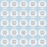 Εκλεκτής ποιότητας διανυσματικό λογότυπο πολυτέλειας που τίθεται στη floral μορφή Στοκ Εικόνες