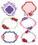 Εκλεκτής ποιότητας διανυσματικό floral σύνολο πλαισίων Στοκ Εικόνα