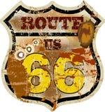 Εκλεκτής ποιότητας διαδρομή 66 οδικό σημάδι, διανυσματική απεικόνιση