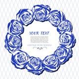 Εκλεκτής ποιότητας κάρτα με ένα στρογγυλό πλαίσιο των μπλε τριαντάφυλλων Στοκ φωτογραφία με δικαίωμα ελεύθερης χρήσης