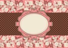 Εκλεκτής ποιότητας κάρτα με τα λουλούδια τριαντάφυλλων Στοκ εικόνα με δικαίωμα ελεύθερης χρήσης
