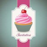 Εκλεκτής ποιότητας κάρτα με το cupcake Στοκ εικόνα με δικαίωμα ελεύθερης χρήσης