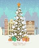 Εκλεκτής ποιότητας κάρτα Χριστουγέννων, διάνυσμα με τα δώρα και χριστουγεννιάτικο δέντρο απεικόνιση αποθεμάτων