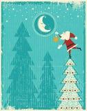Εκλεκτής ποιότητας κάρτα Χριστουγέννων με Santa και το συμπαθητικό φεγγάρι. VE Στοκ Εικόνες