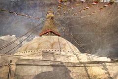 Εκλεκτής ποιότητας κάρτα Boudhanath Stupa με τα μάτια φρόνησης του Βούδα μέσα Στοκ φωτογραφία με δικαίωμα ελεύθερης χρήσης