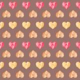 Εκλεκτής ποιότητας καφετί σχέδιο καρδιών πολυγώνων ρόδινο ζωηρόχρωμο Στοκ φωτογραφία με δικαίωμα ελεύθερης χρήσης