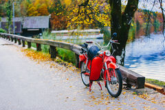 Εκλεκτής ποιότητας κόκκινο ποδήλατο μηχανών μηχανικών δίκυκλων κοντά στη λίμνη Bohinj, Σλοβενία φθινοπωρινή ζωηρόχρωμη σκη& Στοκ Εικόνα