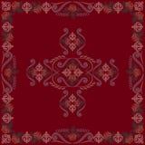 Εκλεκτής ποιότητας κόκκινο Bandana με τα τριαντάφυλλα Διανυσματικό τετράγωνο τυπωμένων υλών Στοκ φωτογραφία με δικαίωμα ελεύθερης χρήσης
