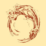 Εκλεκτής ποιότητας κύμα κύκλων σχεδίων χεριών με τη floral ΤΣΕ σχεδίων λουλουδιών Στοκ Φωτογραφίες