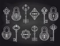 Εκλεκτής ποιότητας κλειδαριές και κλειδιά στον πίνακα κιμωλίας διανυσματική απεικόνιση