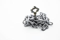 Εκλεκτής ποιότητας κλειδιά αλυσίδα σιδήρου στο άσπρο υπόβαθρο Στοκ εικόνες με δικαίωμα ελεύθερης χρήσης