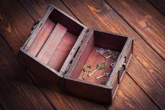 Εκλεκτής ποιότητας κλειδιά μέσα στο παλαιό στήθος θησαυρών Στοκ Εικόνες
