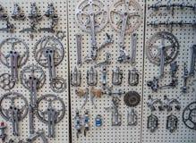 Εκλεκτής ποιότητας μέρη ποδηλάτων στην επίδειξη σε L'Eroica, Ιταλία Στοκ Εικόνες