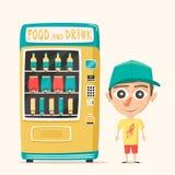 Εκλεκτής ποιότητας μηχανή πώλησης με τα ποτά αναδρομικό ύφος Αγορά του ύδατος διανυσματική απεικόνιση