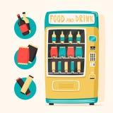 Εκλεκτής ποιότητας μηχανή πώλησης με τα τρόφιμα και τα ποτά αναδρομικό ύφος διανυσματική απεικόνιση