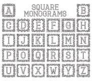 Εκλεκτής ποιότητας μονογράμματα που τίθενται στα τετραγωνικά floral πλαίσια Στοκ εικόνα με δικαίωμα ελεύθερης χρήσης
