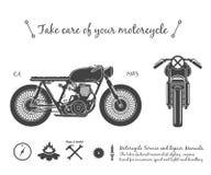 Εκλεκτής ποιότητας μοτοσικλέτα infographic θέμα δρομέων καφέδων στοκ εικόνα