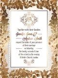 Εκλεκτής ποιότητας μπαρόκ πρότυπο καρτών γαμήλιας πρόσκλησης ύφους Στοκ Φωτογραφίες