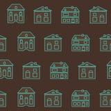 Εκλεκτής ποιότητας μπλε σχέδιο περιλήψεων σπιτιών Στοκ Εικόνα