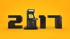 Εκλεκτής ποιότητας νέο έτος έννοιας 2017 μηχανών παιχνιδιών arcade Στοκ Εικόνα