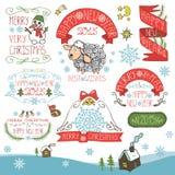 Εκλεκτής ποιότητας νέο έτος, καλλιγραφικά διακριτικά Χριστουγέννων καθορισμένα Στοκ Φωτογραφία