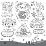 Εκλεκτής ποιότητας νέο έτος, καλλιγραφικά διακριτικά Χριστουγέννων καθορισμένα Στοκ φωτογραφία με δικαίωμα ελεύθερης χρήσης