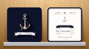 Εκλεκτής ποιότητας ναυτική κάρτα γαμήλιας πρόσκλησης αγκύρων στο μπλε ναυτικό θέμα Στοκ εικόνες με δικαίωμα ελεύθερης χρήσης