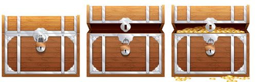Εκλεκτής ποιότητας ξύλινο στήθος με τη χρυσή απεικόνιση νομισμάτων Στοκ Εικόνα