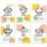 Εκλεκτής ποιότητας δοχεία, συρμένο χέρι πρότυπο συνταγής, διανυσματικό σχέδιο επιλογών σελίδων, υπόβαθρο κουζινών, διανυσματικές  Στοκ εικόνες με δικαίωμα ελεύθερης χρήσης