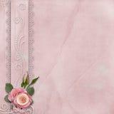 Εκλεκτής ποιότητας πανέμορφο υπόβαθρο με τη δαντέλλα, τριαντάφυλλα, μαργαριτάρια Στοκ Εικόνες