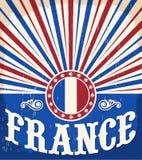 Εκλεκτής ποιότητας παλαιά αφίσα της Γαλλίας με τα γαλλικά χρώματα σημαιών Στοκ Εικόνα