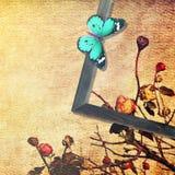 Εκλεκτής ποιότητας περίληψη τέχνης πεταλούδων Τονισμένα χρώματα Στοκ Εικόνες