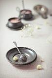 Εκλεκτής ποιότητας πιάτο και κουτάλι Στοκ εικόνες με δικαίωμα ελεύθερης χρήσης
