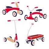 Εκλεκτής ποιότητας ποδήλατο παιχνιδιών παιδιών, μηχανικό δίκυκλο λακτίσματος, κόκκινο βαγόνι εμπορευμάτων Διανυσματική συλλογή Στοκ φωτογραφίες με δικαίωμα ελεύθερης χρήσης