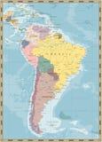Εκλεκτής ποιότητας πολιτικός χάρτης της Νότιας Αμερικής χρώματος Στοκ Φωτογραφίες