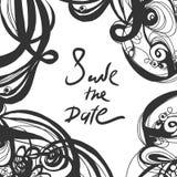 Εκλεκτής ποιότητας πρόσκληση doodle Εκτός από το σχέδιο ημερομηνίας συρμένο χέρι Στοκ εικόνες με δικαίωμα ελεύθερης χρήσης